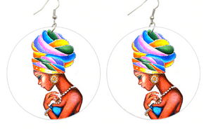 Afrocentric headwrap, wooden ethnic earrings