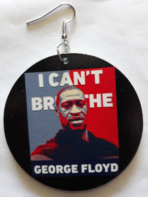 BLM, George Floyd, I Can't Breath wooden drop earrings