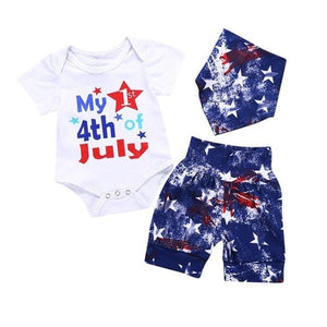 Girls Clothes Hot 4th Of July Letter Star Print