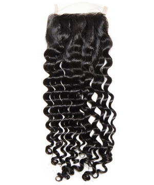 8A, 4x4 Deep Wave Lace Closure (model wearing natural black, 1B)