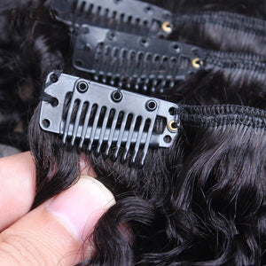 Mongolian Kinky Curly Clip Ins-Human Hair-Natural Color 3B 3C 7 Pcs 120 Grams/Set Remy Hair