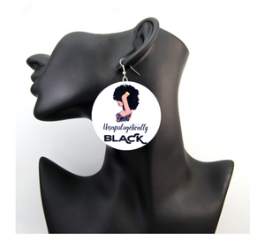 Unapologetically Black drop earrings, black Afro