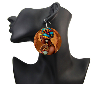 Vinatge African Headwrap Wood Drop Earrings Afrocentric
