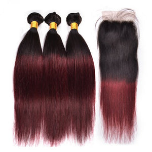 1b/99j# 3 Bundles Brazilian Hair Weave Bundles With Closure Ombre Human Hair Bundles With Closure Alipop NonRemy Straight Hair