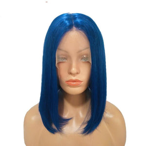 Short Bob Wig Brazilian Remy Hair Straight Lace Front Blue Color