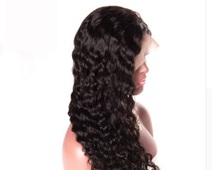 180% Density Full Brazilian Water Wave Lace Front Human Hair Wig With Baby Hair, Pre Plucked