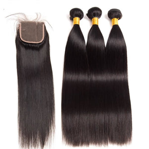"Indian Straight Hair Bundles 3 Bundles With Closure Human Hair Bundles With Closure 4""x4"" Top Lace Closure Remy"