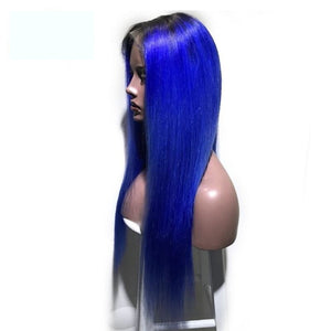 Lace Front Human Hair Wig Luxury Designed T1B/Blue Color Brazilian Remy Silky Straight Free Part