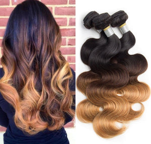 Ombre bundles with closure Brazilian body wave non remy hair extension human hair 3 bundles with closure #1b/4/27