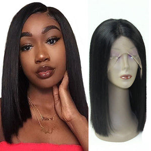 180 Density Short Lace Front Human Hair Wig,  13X6 Brazilian Straight Bob