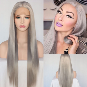 Silver Grey Color Straight Synthetic Lace Front Part