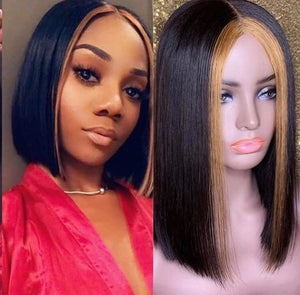 Ombre 1B#/27# Blonde Human Hair Lace Wig Highlight 13x6 Short Bob Brazilian Remy