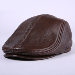 Cowhide Genuine Leather newsboy cap vintage flat cap ear protection