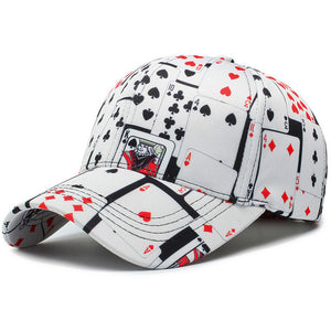 Unisex Playing Cards Hip Hop Caps Print Baseball Cap