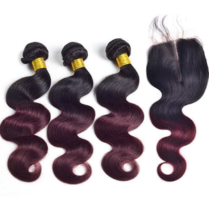 Brazilian Body Wave Ombre Hair Bundles With Closure 1B/burgundy