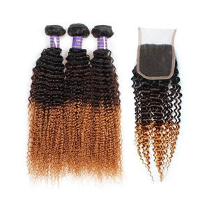 Ombre Human Hair 3 Bundles With Closure 1B/4/30# Kinky Curly