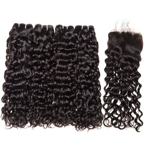 "Malaysian Hair Water Wave Bundles With Closure Human Hair With Closure 4""x4"" Top Lace Closure Remy"