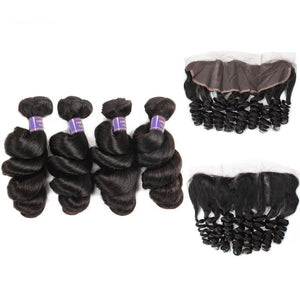 Brazilian Hair Bundles With Frontal Loose Wave Ear To Ear Lace Closure Remy Human