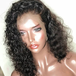 Short Human Hair Wig Brazilian Wavy Bob Lace Front Wigs Pre Plucked With Baby Hair Curly Remy Black 130% Full