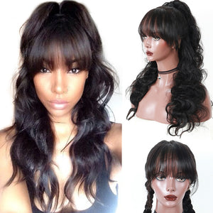 360 Lace Frontal Wig With Bangs 180% Body Wave Brazilian Lace Front Human Hair
