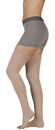 Juzo Soft, 15-20 mmHg, Thigh High w/Silicone Band, Open Toe | Compression Care Center