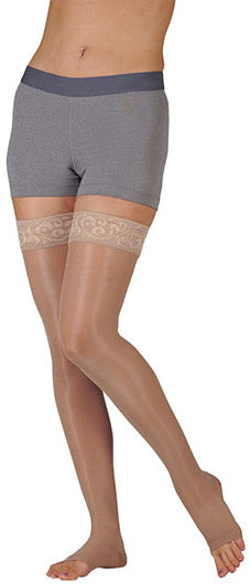 Juzo Naturally Sheer (2101AG), 20-30 mmHg, Thigh High, Open Toe