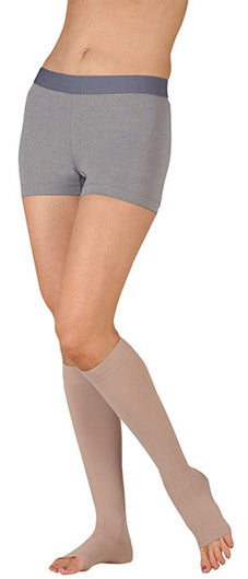 Chocolate Juzo Dynamic (3512AD), 30-40 mmHg, Knee High, Open Toe | Compression Care Center
