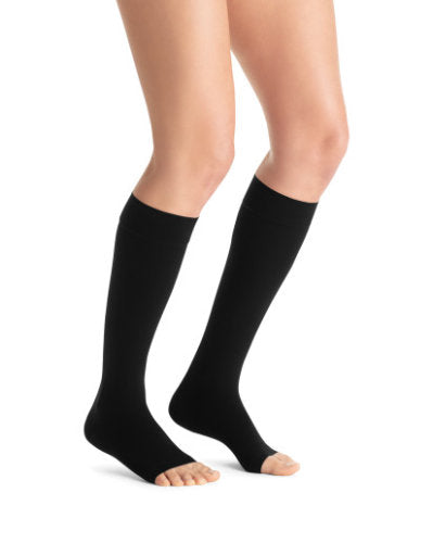 Jobst Opaque, 30-40 mmHg, Knee High, Open Toe | Black Knee High Stocking | Compression Care Center