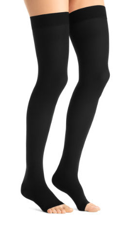 Jobst Opaque, 15-20 mmHg, Thigh High w/Silicone Dot Band, Open Toe