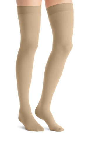 Jobst Opaque, 15-20 mmHg, Thigh High w/Silicone Dot Band, Closed Toe | Beige Closed Toe Stockings | Compression Care Center