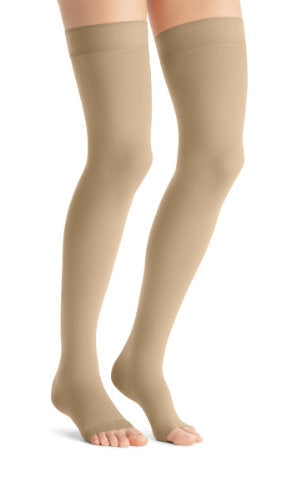 Jobst Opaque, 15-20 mmHg, Thigh High w/Silicone Dot Band, Open Toe | Natural Opaque Stocking | Compression Care Center