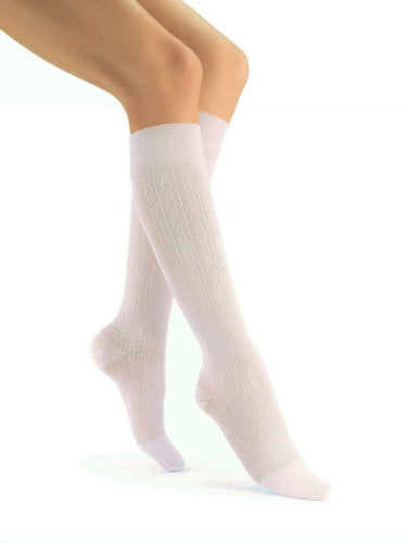 Jobst soSoft, 8-15 mmHg, Knee High, Brocade | White Knee High Stockings | Compression Care Center