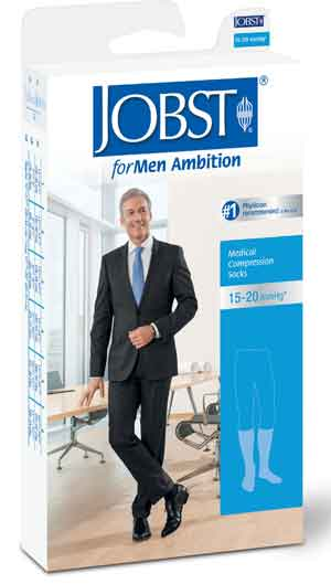 Jobst forMen Ambition w/SoftFit, 15-20 mmHg, Knee High, Ribbed