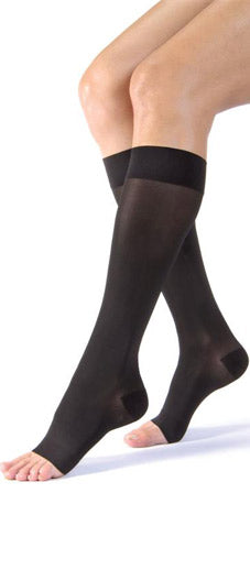 Jobst Ultrasheer, 15-20 mmHg, Knee High, Open Toe | Black Stocking | Compression Care Center
