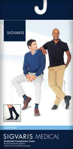 Sigvaris 233C Cotton for Men, 30-40 mmHg, Knee High w/Silicone, Closed Toe
