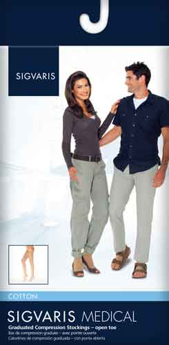 Sigvaris 233C Cotton (Unisex), 30-40 mmHg, Knee High, Open Toe