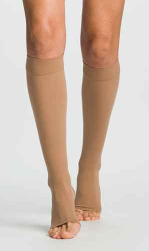 Mocha Sigvaris 862CO Opaque, 20-30 mmHg, Knee High, Open Toe | Compression Stocking | Compression Care Center
