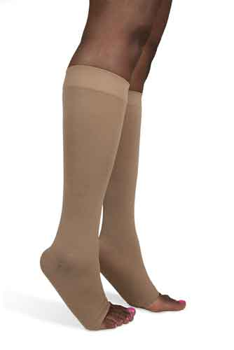 Sigvaris 843CO Soft Opaque, 30-40 mmHg, Knee High, Open Toe