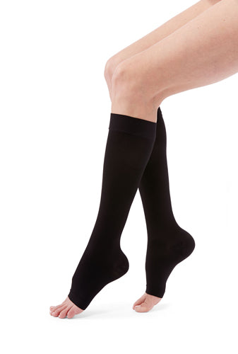 Duomed Advantage, 20-30 mmHg, Knee High, Open Toe | Black Women Stocking | Compression Care Center