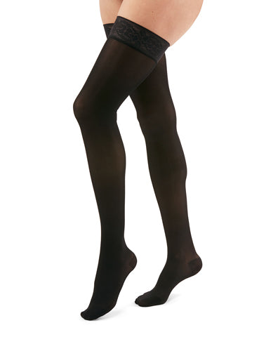 Mediven Duomed Transparent, 15-20 mmHg, Thigh High w/Lace Silicone Band, Closed Toe