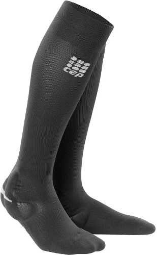 Pair of black knee high CEP ankle support socks with a silicone pad over the malleolus for added protection