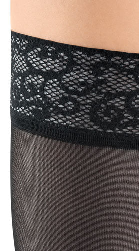 magnified image of the lace silicone top band worn on a womans leg