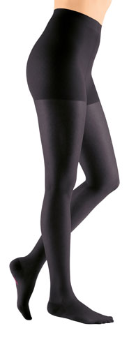 lady wearing a balck pair of mediven sheer and soft compression stockings
