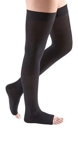 Black Mediven Comfort, 20-30 mmHg, Thigh High w/Beaded Silicone Band, Open Toe | Compression Care Center