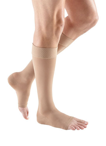 Beige Mediven Plus, 30-40 mmHg, Knee High w/Extra Wide Calf, Silicone, Open Toe | Compression Stocking | Compression Care Center