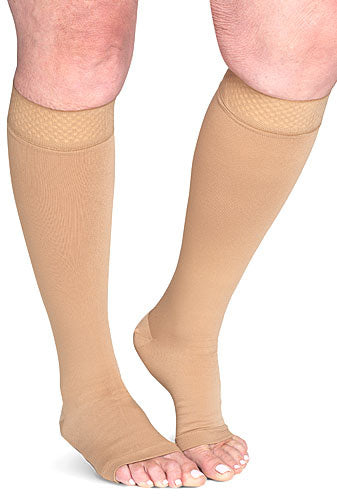 Sigvaris 554C Secure, 40-50 mmHg, Knee High, Open Toe, Silicone Dot Band