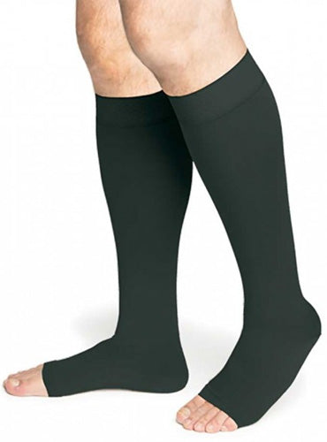 Sigvaris Secure, 30-40 mmHg, Knee High, Open Toe, Silicone Dot Band | Compression Care Center