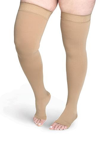Sigvaris 554N Secure, 40-50 mmHg, Thigh High, Open Toe, Silicone Band | Compression Care Center