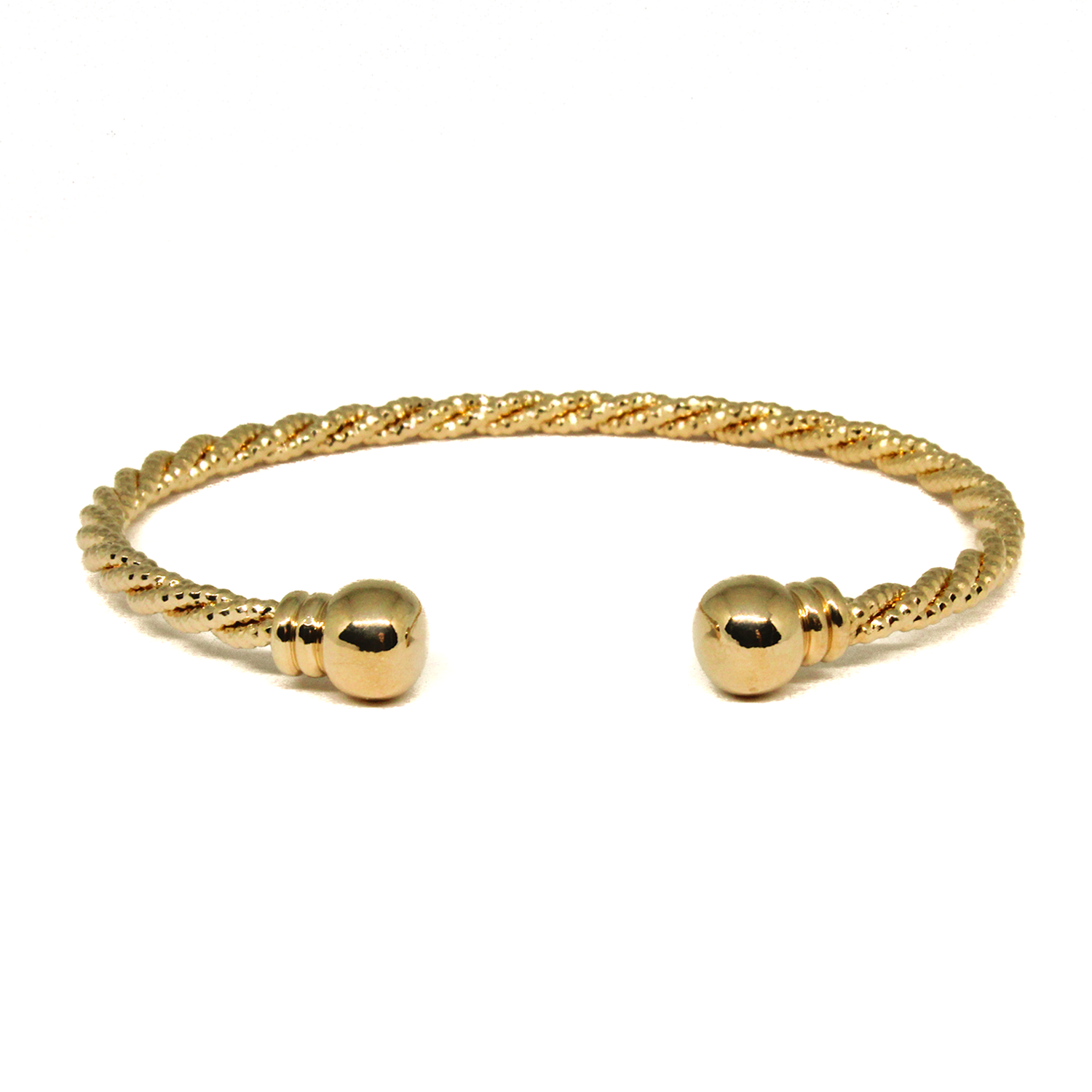 Revi Studios - 18K gold-plated Jewelry. Open twisted Bracelet with beads at the end. (Revi Studios - 18K aranyozott ékszer)