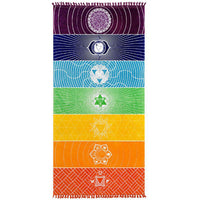 Rainbow Beach Mat Square Beach Towel Foldable Yoga Mats with Tassels for Picnic Beach Taveling Camping Hiking